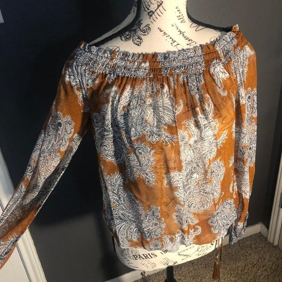 Lucky Brand Tops - Orange Off Shoulder Top